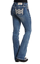 Grace in LA Aztec Bling Light Wash Boot Cut Jeans
