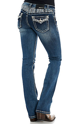 Grace in LA Women's Blingy Flap and Yoke Boot Cut Jeans