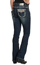 Grace in LA Women's Medium Wash with Multicolor Stripe Embroidery Flap Pocket Boot Cut Jean
