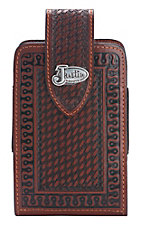 Justin Chestnut Leather with Basketweave and Tooling XL Cell Phone Case