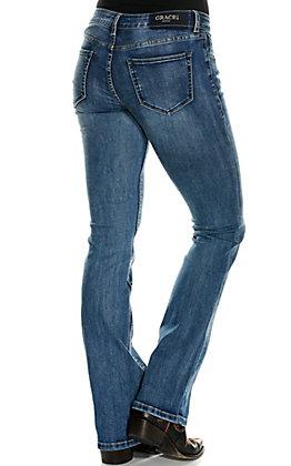 Grace in LA Women's Medium Wash Lace Up Front Boot Cut Jeans
