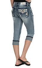 Grace in LA Women's Light Wash with Kaiedescope Zag Pockets Capri Jeans