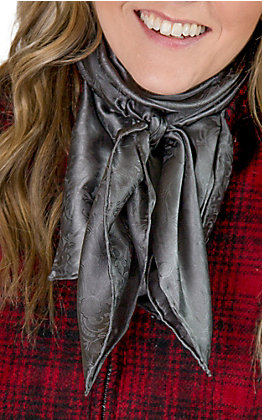 Jacquard Charcoal Silk Wild Rags Scarf