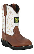 XKHJohn Deere Johnny Popper Childrens Brown Distressed w/ White Top Crepe Sole Boot