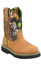 John Deere Johnny Popper Childrens Distressed Brown w/ Camo Top Crepe Sole Boots