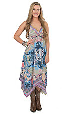 Jealous Tomato Women's Lemon Multicolor Mixed Print Sleeveless Maxi Dress