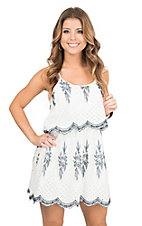 Flying Tomato Women's Off White Dress with Navy Floral Embroidery Sleeveless A-Line Dress