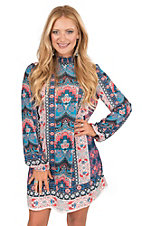 Jealous Tomato Women's Coral, Blue, Grey, and Navy Floral Print with High Neckline Long Sleeve Shift Dress