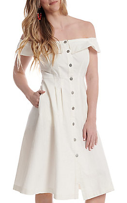 Jealous Tomato Women's Ivory Off The Shoulder Button Down Dress