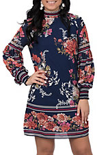 Jealous Tomato Women's Navy Floral Print Dress