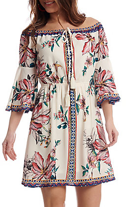 Jealous Tomato Women's Ivory Floral Off The Shoulder Dress