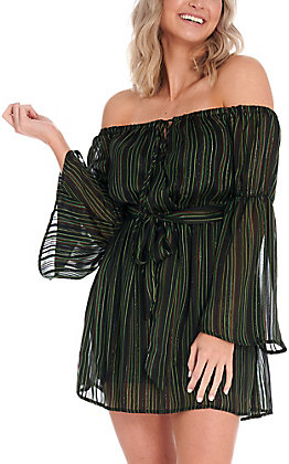 Jealous Tomato Women's Black with Green Stripes Shimmer Cold Shoulder Long Sleeve Dress