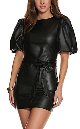 Jealous Tomato Women's Black Faux Leather Belted Short Puff Sleeves Dress