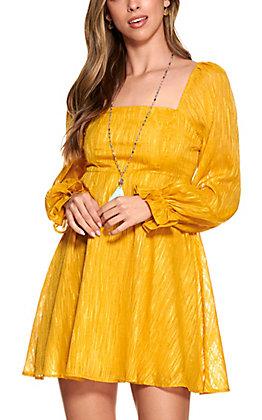 A. Calin Women's Gold Sparkle Long Sleeve Dress