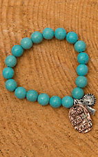 Turquoise Beaded Hide Your Crazy Charm Stretch Bracelet JE549C