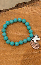 Turquoise Beaded Bless Your Heart Charm Stretch Bracelet JE549H