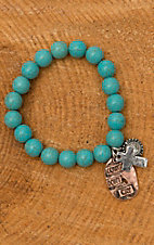 Turquoise Beaded Cowgirls Don't Cry Charm Stretch Bracelet JE849CG