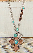 Copper & Turquoise Cross Blessed Charm Necklace JE874C