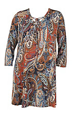 James C Women's Navy and Rust Paisley Print 3/4 Sleeve Dress - Plus Size