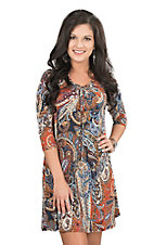 James C Women's Navy and Rust Paisley Print 3/4 Sleeve Dress