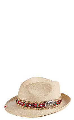 Atwood Women's Jessie Tribal Band Concho Straw Hat Fedora