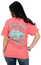 Girlie Girl Originals Women's Coral Jesus Take the Wheel Short Sleeve T-Shirt