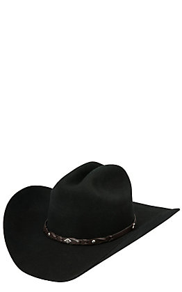 Justin 2X Lonestar Black Wool Cowboy Hat