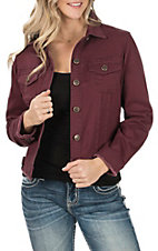 Denim Fueled Women's Wine Lola Fray Jacket
