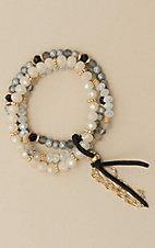 Amber's Allie Ivory Beaded Stretch Beading Bracelet