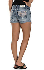 Grace in LA Women's Medium Wash with Pink and Blue Embroidery Open Back Pocket Shorts