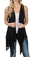 Honeyme Women's Black Lace Back Vest