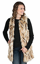 Jealous Tomato Women's Brown Calico Faux Fur Open Front Vest