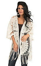 Jealous Tomato Women's Off White Lace with Fringe 1/2 Sleeve Cardigan