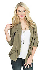 Jealous Tomato Women's Olive with Cream Crochet Back Long Sleeve Cargo Shirt Jacket