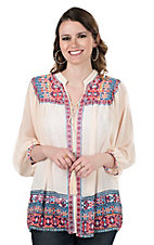 Jealous Tomato Women's Cream with Geometric Print Accents and Tassel Tie Long Sleeve Cardigan