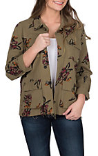 Jelaous Tomato Women's Olive Floral Cargo Jacket