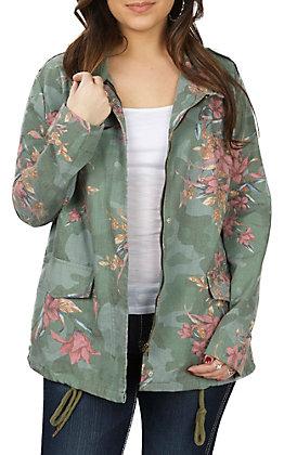 Jelaous Tomato Women's Camo Floral Cargo Jacket
