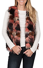 Jealous Tomato Women's Multicolored Faux Fur Vest
