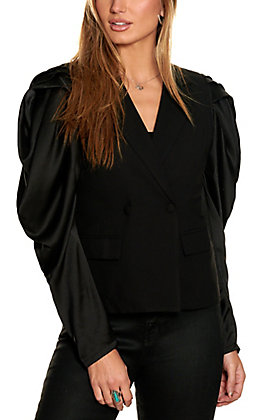 Jealous Tomato Women's Black with Long Satin Puff Sleeves Blazer Jacket