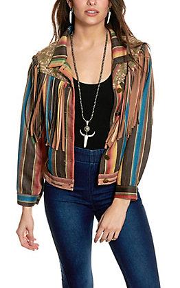 Fashion Express Women's Serape Striped and Fringed Jacket