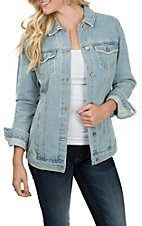 Boom Boom Jeans Women's Light Denim Oversized Destructed Jacket