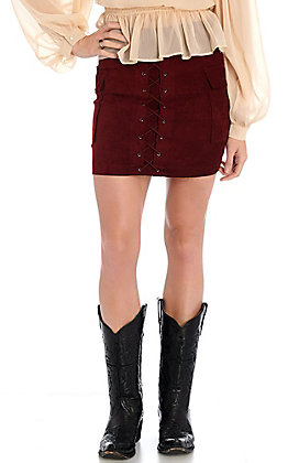 Jealous Tomato Women's Burgundy Faux Suede Lace Up Pocketed Mini Skirt