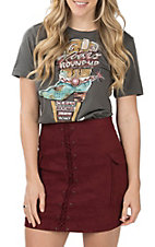 Jealous Tomato Women's Maroon Faux Suede Lace Up Pocketed Mini Skirt