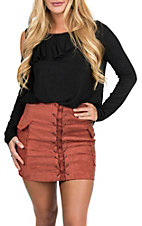 Jealous Tomato Women's Rust Faux Suede Mini Skirt
