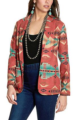 Fashion Express Women's Rust Aztec Print Faux Suede Blazer