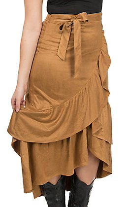 Jealous Tomato Women's Camel Faux Suede Double Ruffle Skirt