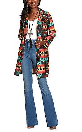 Fashion Express Women's Black Aztec Print Car Coat