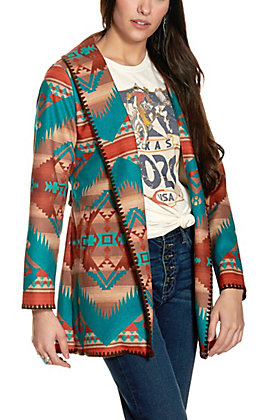 Fashion Express Women's Brown and Turquoise Belted Blanket Jacket
