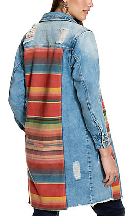 Fashion Express Women's Distressed Denim with Aztec Pattern Faux Suede Panels Jacket