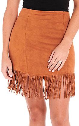 Jealous Tomato Women's Camel Brown Faux Suede Fringe Skirt